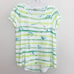 Anthropologie Striped Tee with Bird Pattern Small
